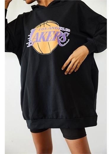 XHAN Siyah Baskılı Kapüşonlu Uzun Oversize Sweatshirt 1Kxk8-44692-02 Siyah
